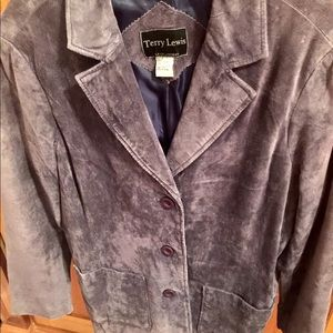 Terry Lewis lavender leather jacket suede size s